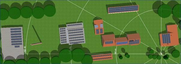 Aufsicht auf Gewerbegebäude mit Solardächern