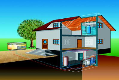 Schematische Darstellung eines Einfamilienhauses mit einer Kompaktluftwärmepumpe